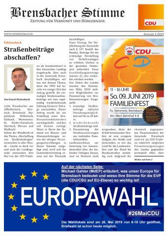 "Titelseite ""Brensbacher Stimme"" 01/2019"